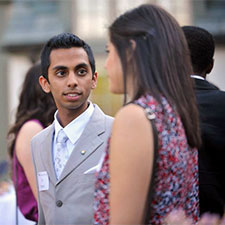 PLA students talking to one another at the Spring Reception held at Schreyer House